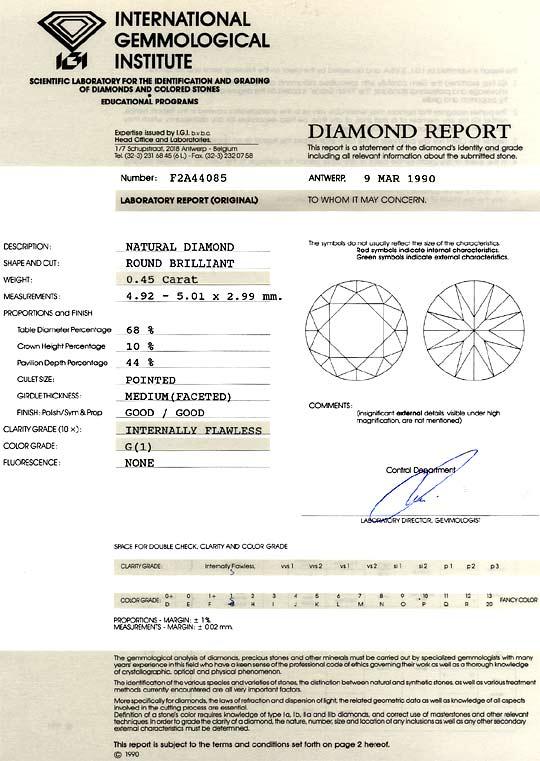 Foto 9, Diamant 0,45 Carat Brillant IGI Top Wesselton Lupenrein, D6192