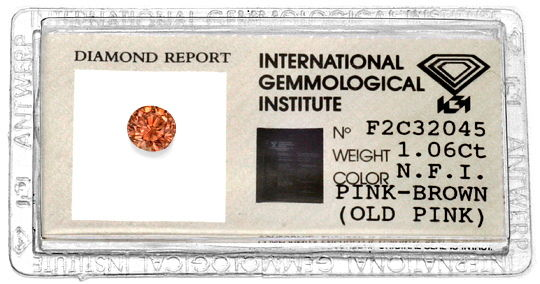 Foto 1, Fancy Intense Pink Brown Old Pink 1,06 ct Brilliant IGI, D6193
