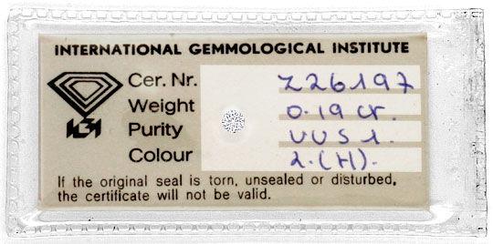 Foto 1, Diamant 0,19ct Wesselton VVS1, Brillant Vollschliff IGI, D6194