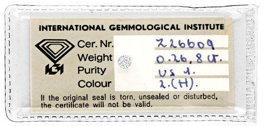 Foto 1, Diamant 0,268ct Wesselton Weiss VS1 Brillantschliff IGI, D6195