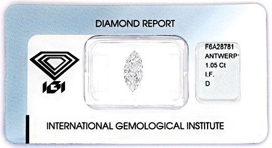 Foto 1, Bester Diamant 1,05Carat River D, Lupenrein Navette IGI, D6198