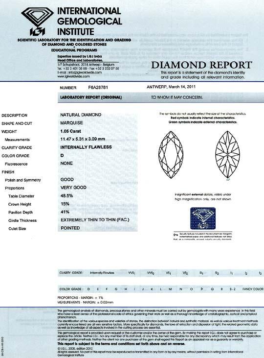 Foto 9, Bester Diamant 1,05Carat River D, Lupenrein Navette IGI, D6198
