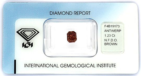 Foto 1, Natural Fancy Deep Orange Brown 1,23ct Rectangular, IGI, D6201