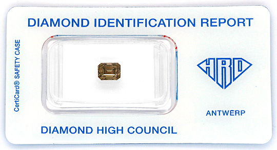 Foto 1, 1,21 Diamant Emerald-Cut Fancy Intense Olive Brown, HRD, D6202