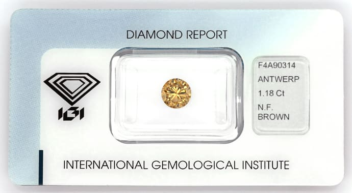 Foto 1, Kupfer Cognac Bronze Fancy Brown Diamant 1,18 Carat IGI, D6203