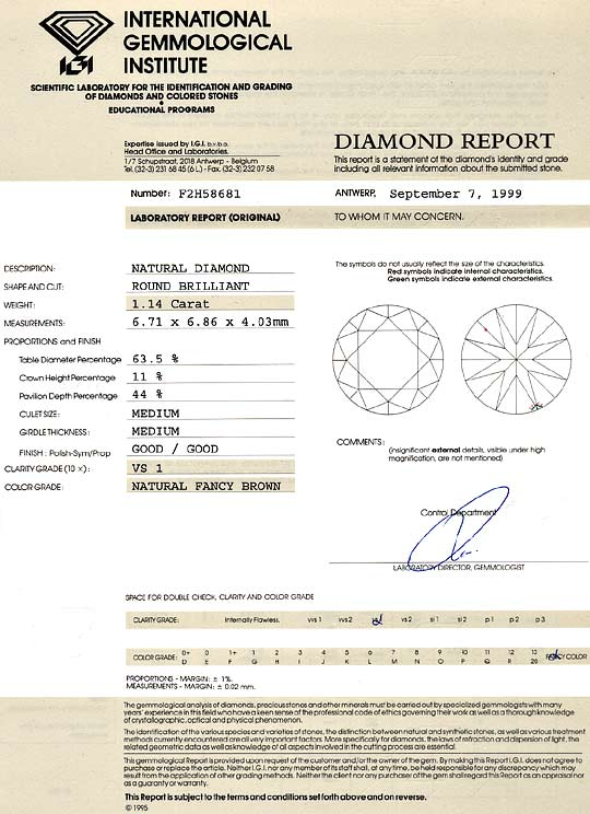 Foto 9, Kupfer Bronze Cognac Diamant Fancy Brown 1,14ct VS1 IGI, D6204