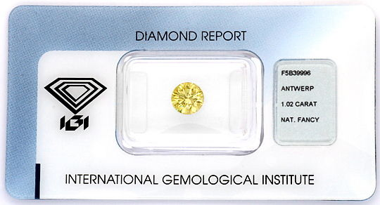 Foto 1, Super Honig Gold Farbe Fancy Brownish Yellow 1,02ct IGI, D6205