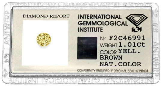 Foto 1, 1A Brillianz Honig Yellowish Bronw 1,01ct Brilliant IGI, D6206
