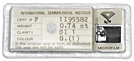 Foto 1, Diamant 0,74 Brillant Top Wesselton G SI1 IGI Gutachten, D6211