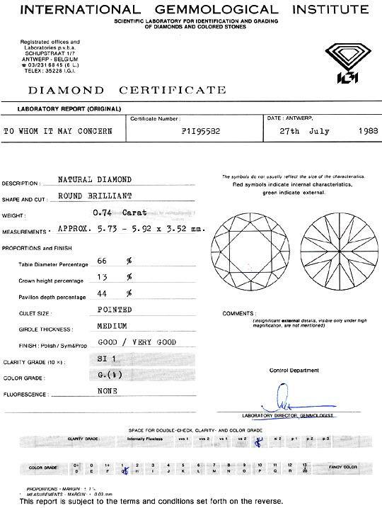 Foto 9, Diamant 0,74 Brillant Top Wesselton G SI1 IGI Gutachten, D6211