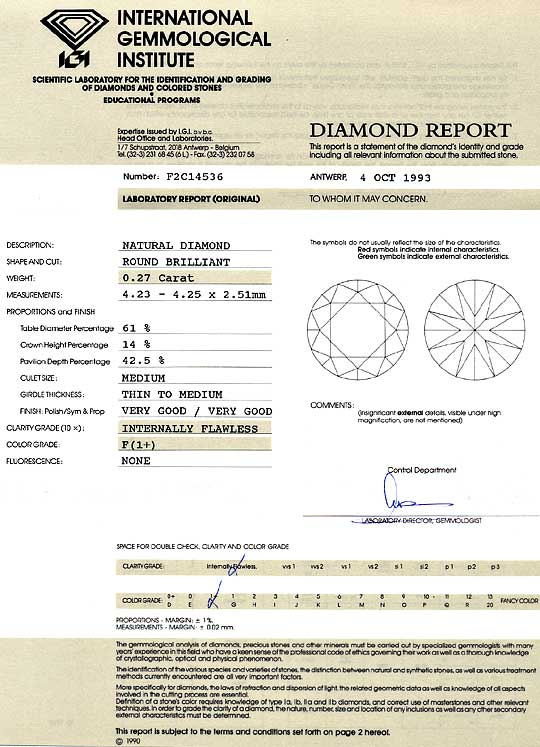 Foto 9, 0,27ct Diamant IGI Brillant Lupenrein feines Weiss Plus, D6215