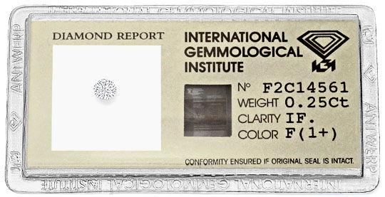 Foto 1, Viertelkaraeter 0,25 Brilliant IGI LC feines Weiss Plus, D6217
