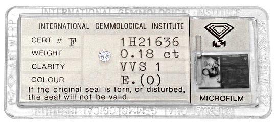 Foto 1, Diamant 0,18ct Brillant Hochfeines Weiss River VVS1 IGI, D6225