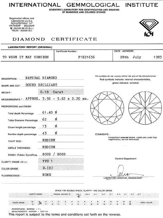 Foto 9, Diamant 0,18ct Brillant Hochfeines Weiss River VVS1 IGI, D6225