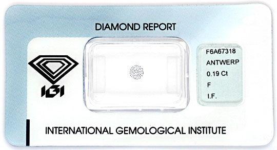 Foto 1, Diamant 0,19 Brilliant IGI Lupenrein Top Wesselton Plus, D6226