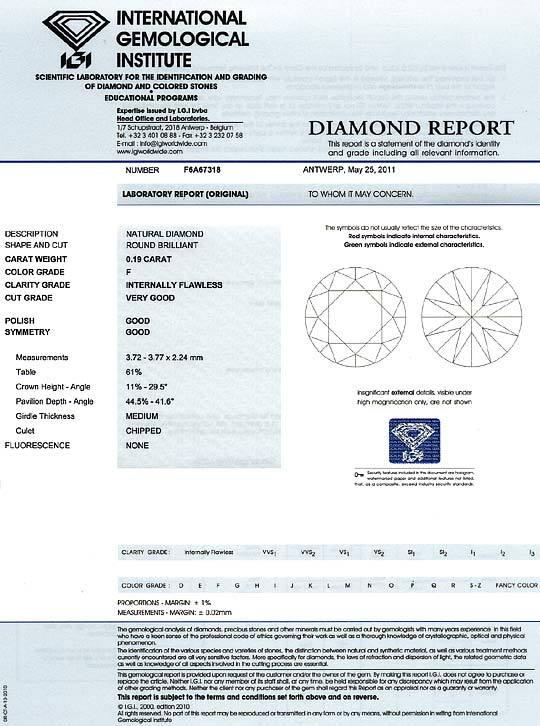Foto 9, Diamant 0,19 Brilliant IGI Lupenrein Top Wesselton Plus, D6226