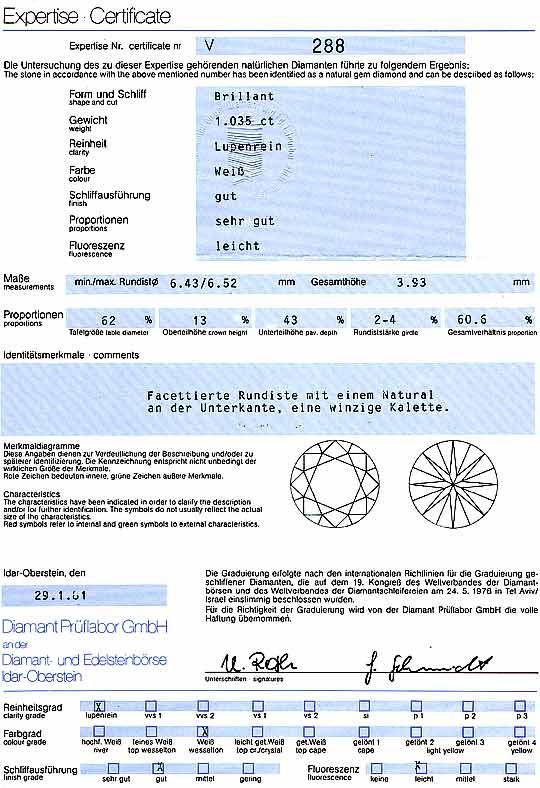 Foto 9, Diamant 1,035ct Brilliant DPL Lupenrein Wesselton Weiss, D6228