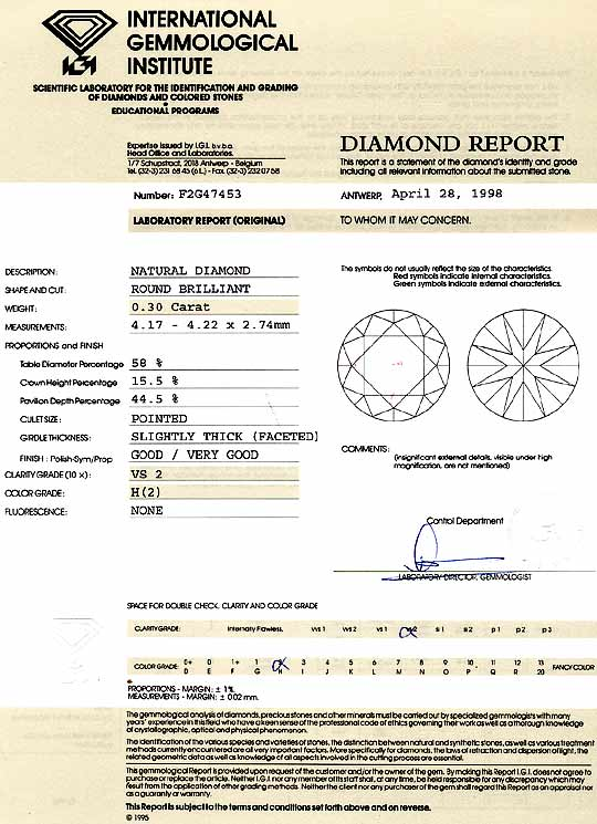 Foto 9, Diamant 0,30 Carat Brillant Wesselton VS2 IGI Gutachten, D6230