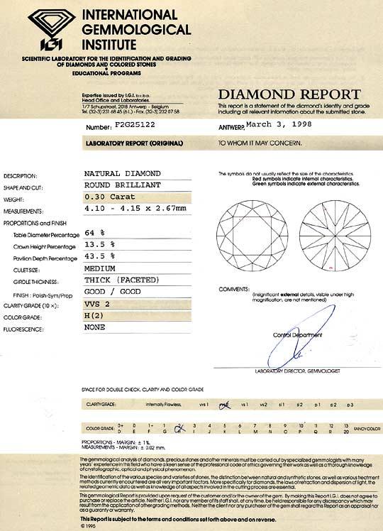 Foto 9, Diamant 0,30 Brillant Wesselton Weiss VVS IGI Gutachten, D6231