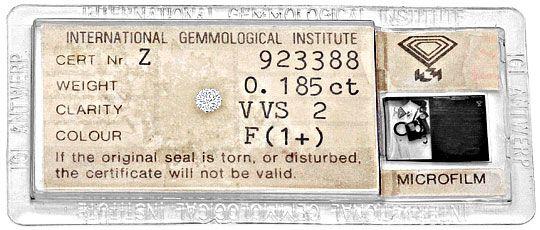 Foto 1, Diamant 0,185 Carat Brillant IGI feines Weiss Plus VVS2, D6234
