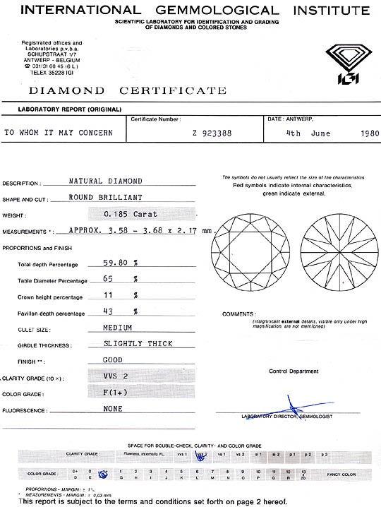 Foto 9, Diamant 0,185 Carat Brillant IGI feines Weiss Plus VVS2, D6234