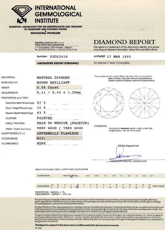 Foto 9, Diamant 0,58ct Brillant IGI Lupenrein Wesselton Weiss H, D6235