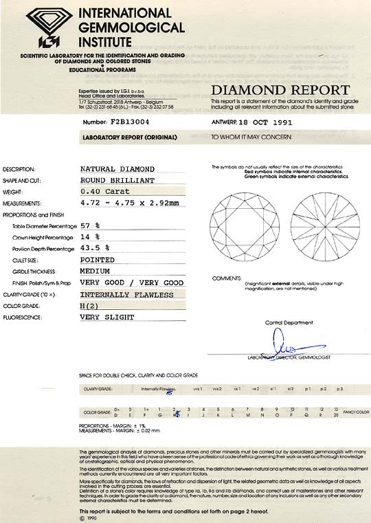 Foto 9, Diamant 0,40 ct Brilliant IGI Gutachten Lupenrein Weiss, D6236