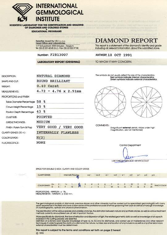 Foto 9, Diamant 0,4Carat Brillant IGI Lupenrein Wesselton Weiss, D6237