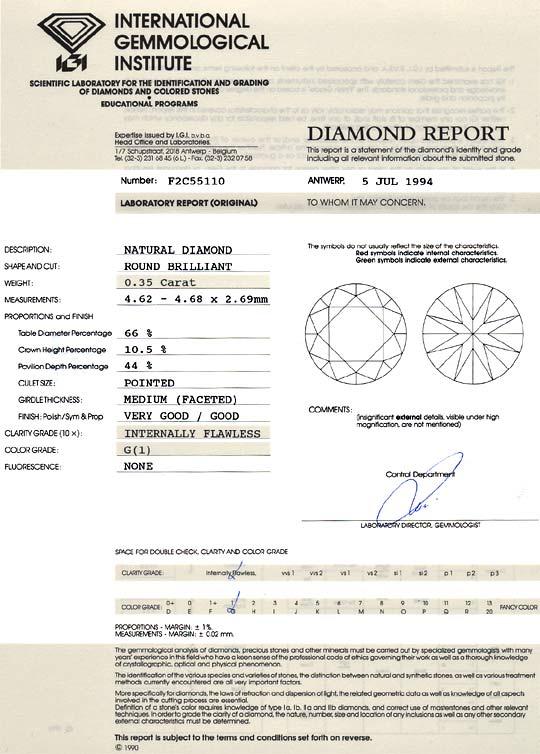 Foto 9, Diamant 0,35 Carat Brillant IGI Lupenrein Top Wesselton, D6238
