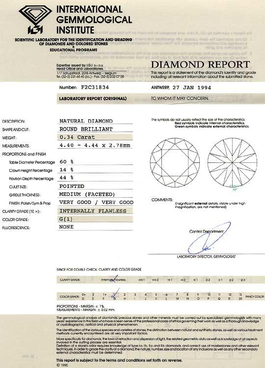 Foto 9, Diamant 0,35 Brillant IGI Lupenrein Top Wesselton VG VG, D6239