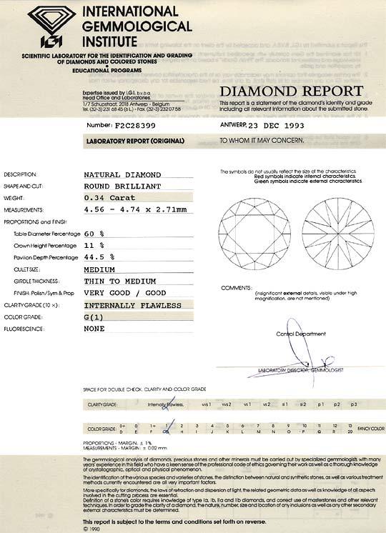 Foto 9, Diamant 0,34 Carat Brillant IGI Lupenrein Top Wesselton, D6240