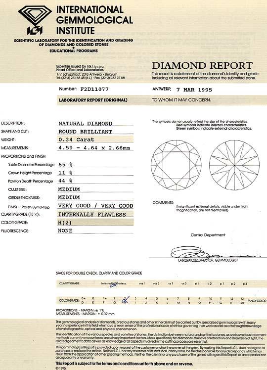 Foto 9, Diamant 0,34 Carat Brilliant IGI, Lupenrein Wesselton H, D6241