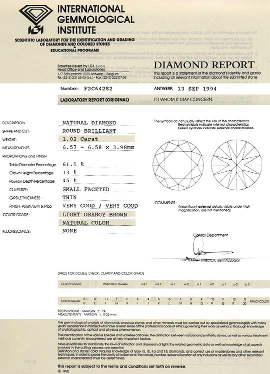 Foto 9 - Diamant 1,02 Brilliant IGI Expertise Light Orangy Brown, D6242