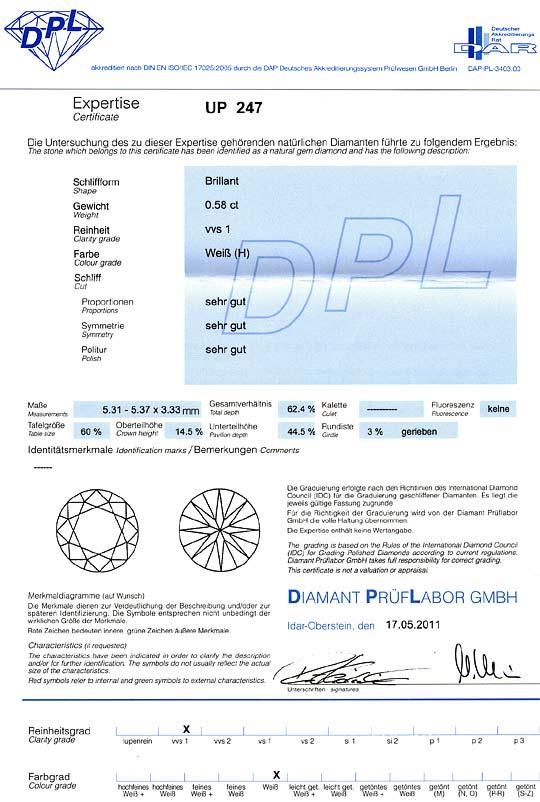 Foto 9, Diamant 0,58Carat Brillant DPL Expertise Wesselton VVS1, D6243