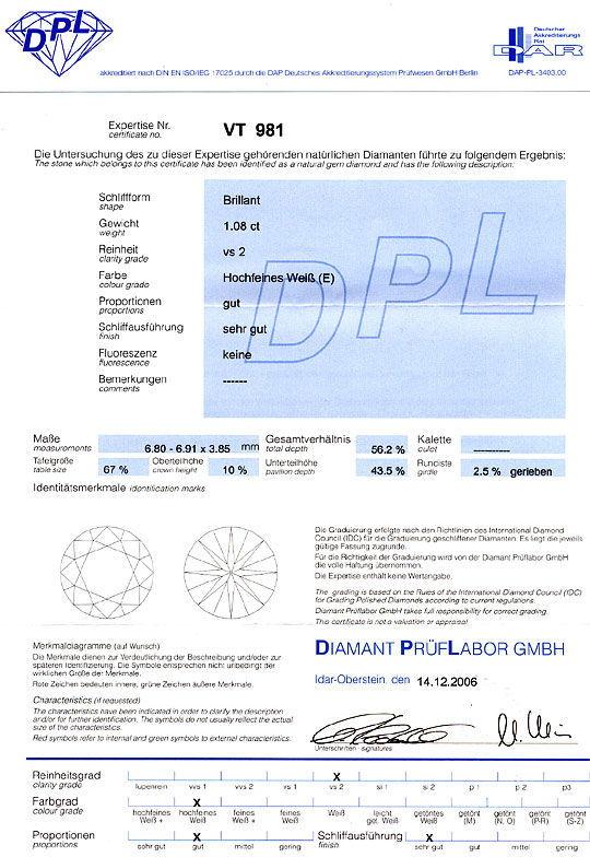 Foto 9, Diamant 1,08 Brilliant DPL Hochfeines Weiss River E VS2, D6244
