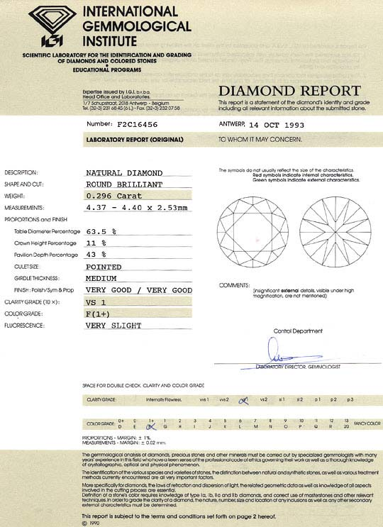 Foto 9, Diamant 0,296 Carat Brillant IGI Top Wesselton Plus VS1, D6246