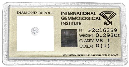 Foto 1, Diamant 0,293 Brilliant IGI Expertise Top Wesselton VS1, D6247