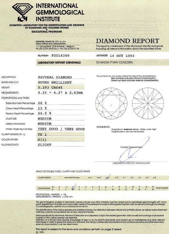 Foto 9, Diamant 0,293 Brilliant IGI Expertise Top Wesselton VS1, D6247