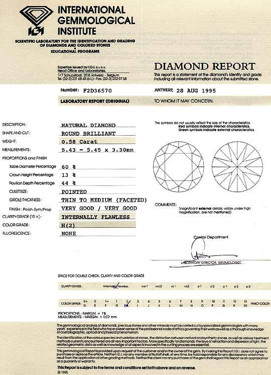 Foto 9, Diamant 0,58 ct Brilliant IGI Wesselton Weiss Lupenrein, D6257