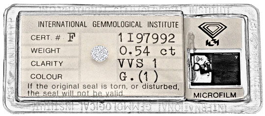 Foto 1, 0,54 Carat Brillant IGI Top Wesselton feines Weiss VVS1, D6258