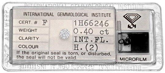 Foto 1, Diamant 0,40ct Brillant IGI Lupenrein Wesselton Weiss H, D6259