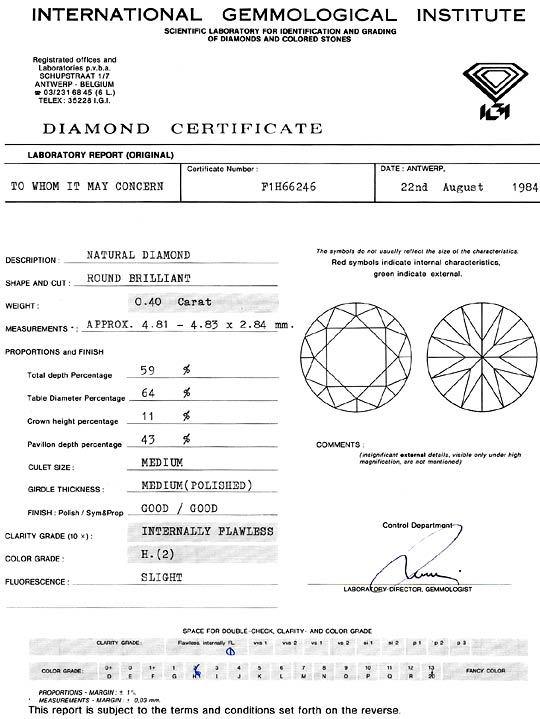 Foto 9, Diamant 0,40ct Brillant IGI Lupenrein Wesselton Weiss H, D6259
