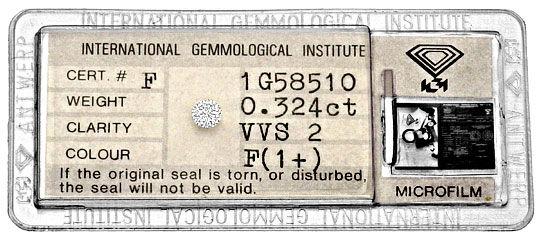 Foto 1, Diamant 0,324 Carat Brillant IGI feines Weiss Plus VVS2, D6261