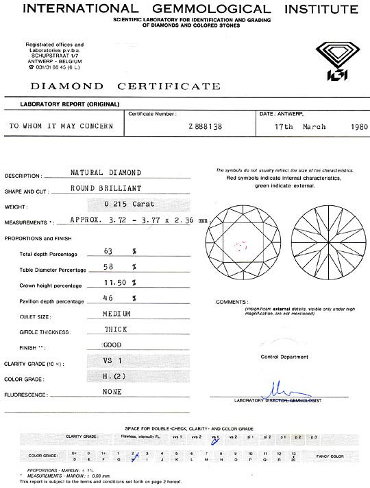 Foto 9, Diamant 0,215 Carat Brilliant IGI Wesselton Weiss H VS1, D6263