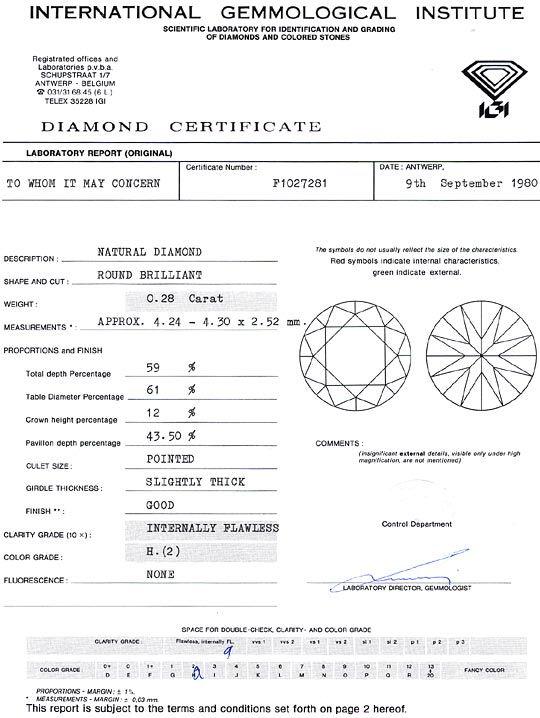 Foto 9, Diamant 0,28ct Brillant IGI Lupenrein Wesselton Weiss H, D6268