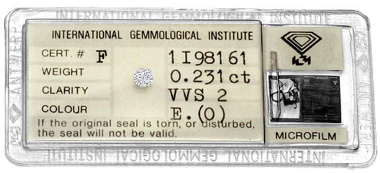 Foto 1, Diamant 0,231ct Brillant IGI River Hochfeines Weiss VVS, D6270