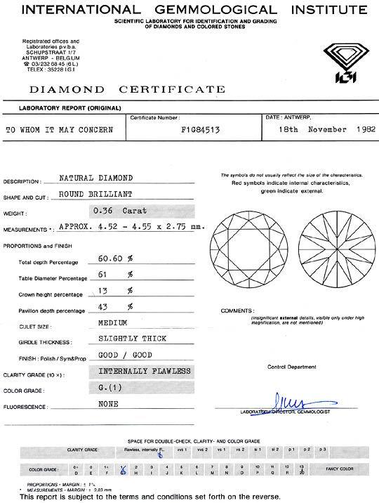 Foto 9, Diamant 0,36 Carat Brillant IGI Lupenrein Top Wesselton, D6274