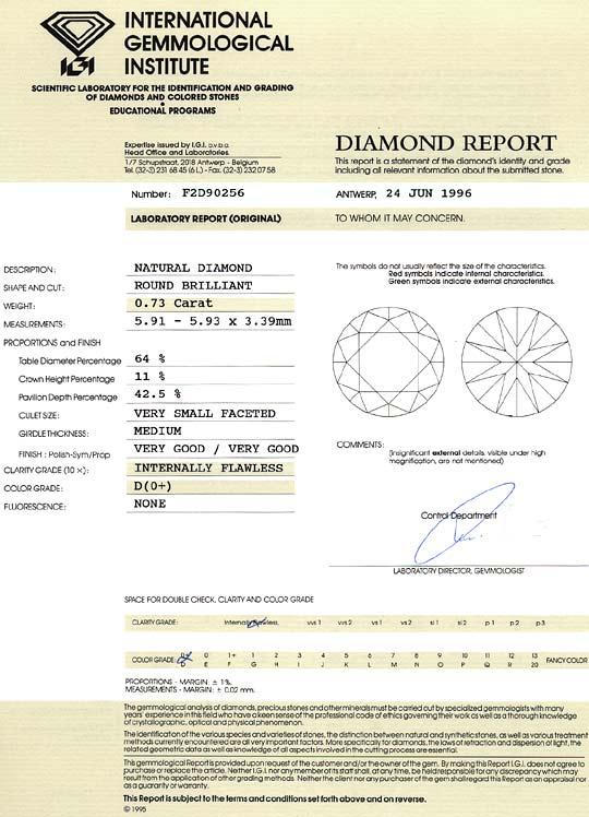 Foto 9, Der Beste Diamant 0,73ct Brillant IGI Lupenrein River D, D6275
