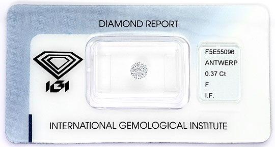 Foto 1, Diamant 0,37 Carat Brillant IGI Lupenrein Top Wesselton, D6276