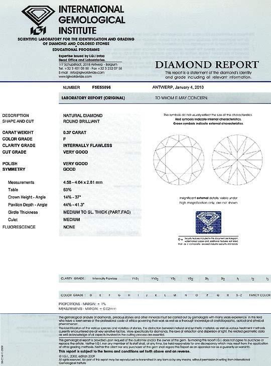 Foto 9, Diamant 0,37 Carat Brillant IGI Lupenrein Top Wesselton, D6276